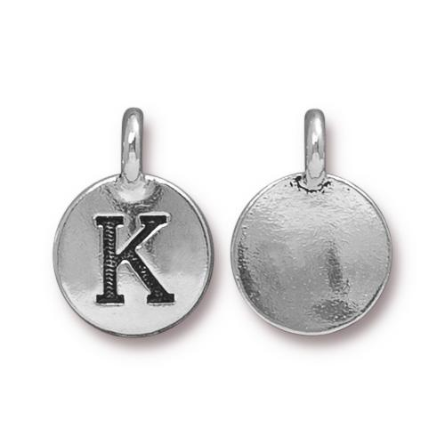 Silver Initial Charm - Letter K