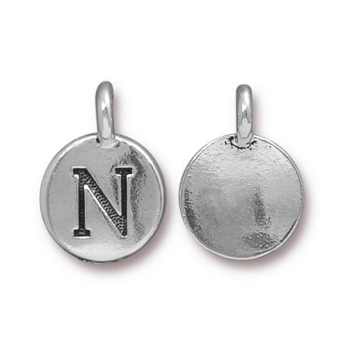 Silver Initial Charm - Letter N