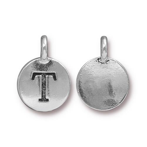 Silver Initial Charm - Letter T