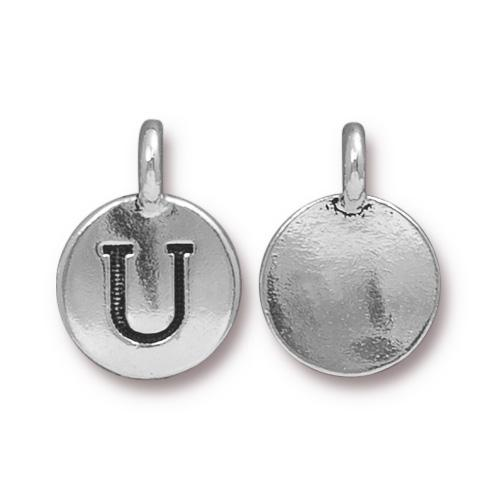 Silver Initial Charm - Letter U