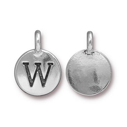 Silver Initial Charm - Letter W