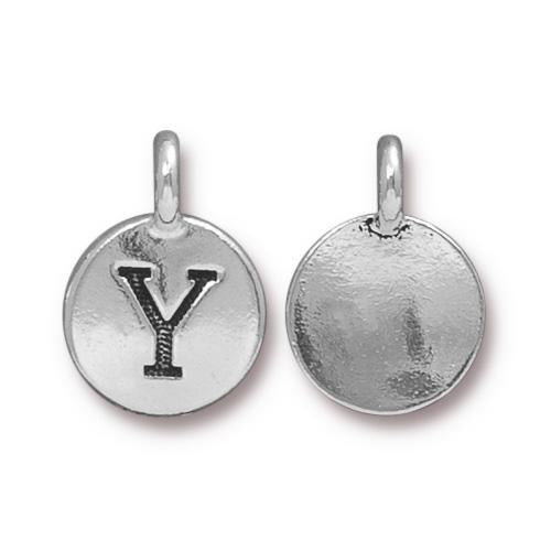 Silver Initial Charm - Letter Y