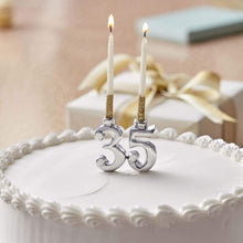 Load image into Gallery viewer, 3 and 5 Silver Number Candle Holder Set (For Cake)