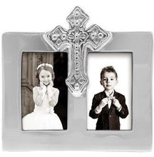 Load image into Gallery viewer, Silver Double Frame Cross Picture Frame