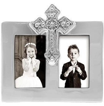 Silver Double Frame Cross Picture Frame