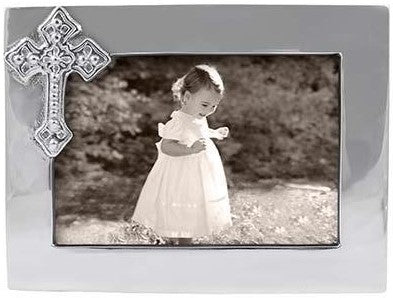 Silver 4x6 Cross Picture Frame