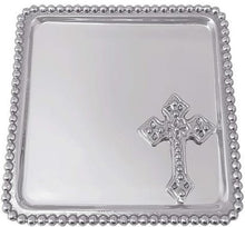 Load image into Gallery viewer, Cross Beaded Statement Tray Christening