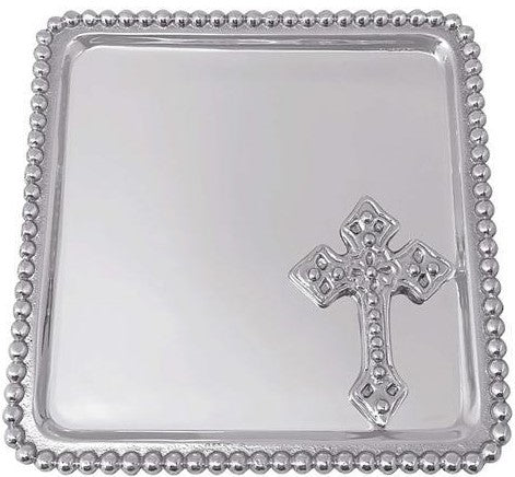 Cross Beaded Statement Tray Christening