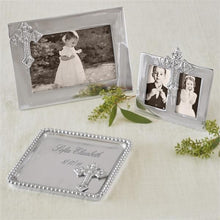 Load image into Gallery viewer, Silver Picture Frames and Cross Tray Christening Gifts and First Communion
