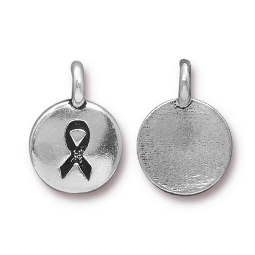Silver Cancer Awareness Ribbon Charm