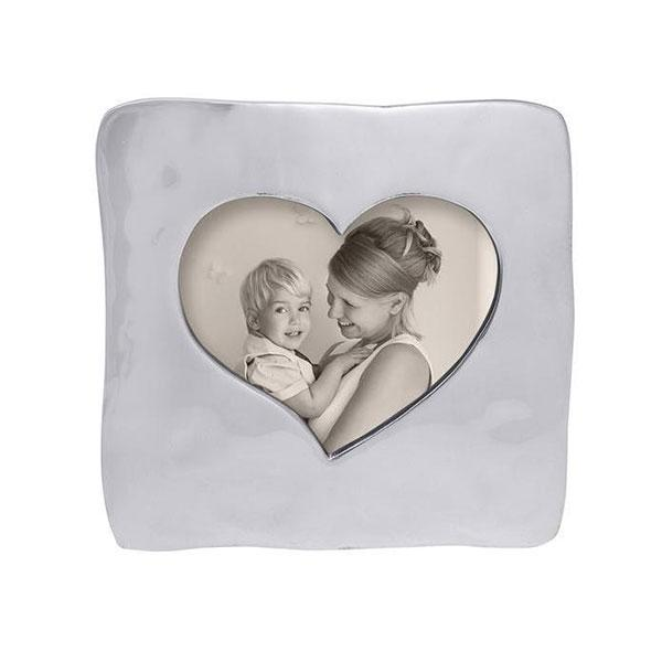 Silver Large Square Open Heart Picture Frame