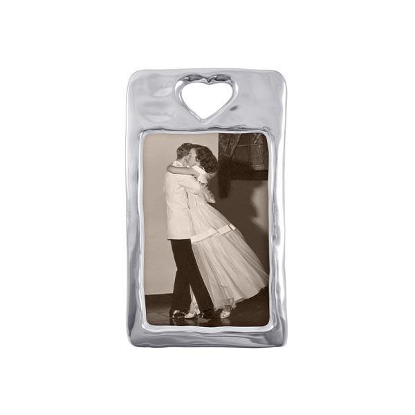 Silver Open Heart 4x6 Vertical Picture Frame