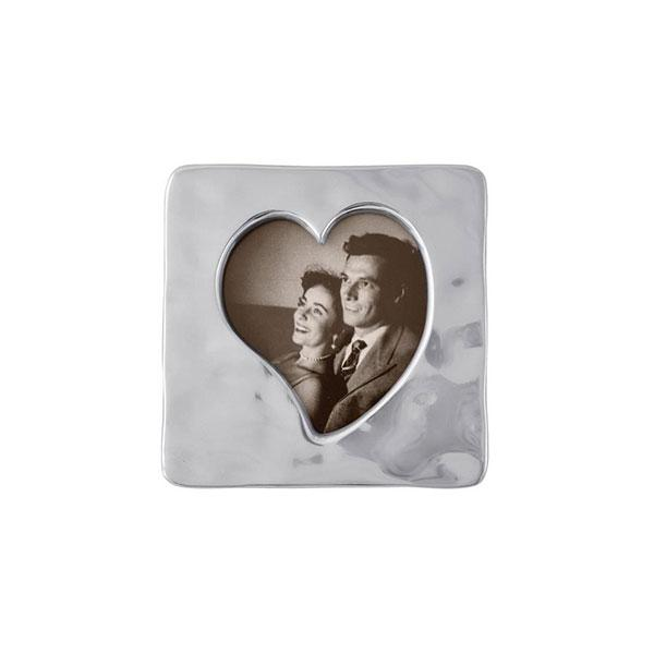 Silver Small Square Open Heart Picture Frame