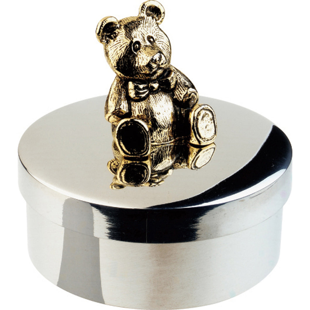Silver Teddy Bear Keepsake Box