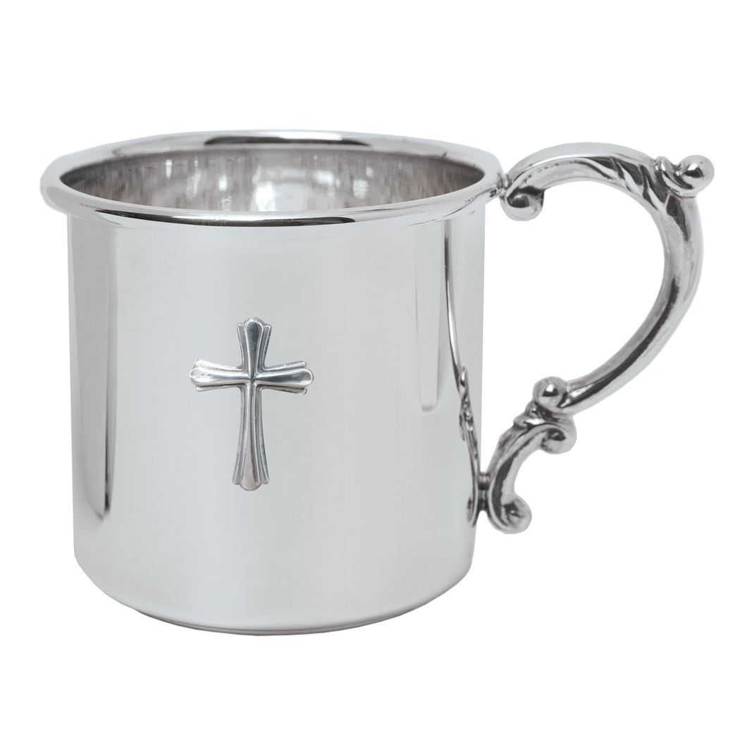 Sterling Silver Baby Cup with Scroll Handle and Cross