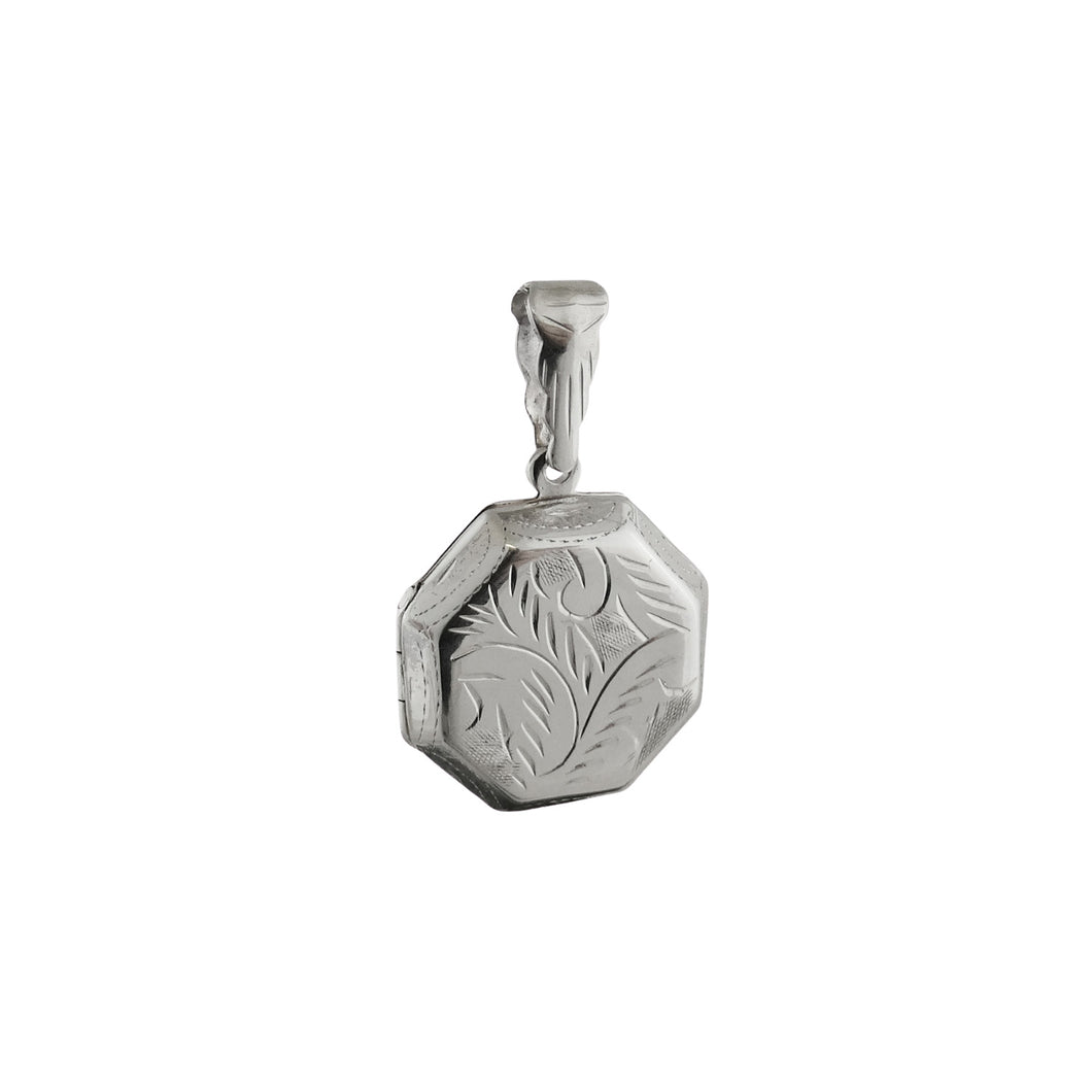 Sterling Silver Sterling Etched Octagon Locket