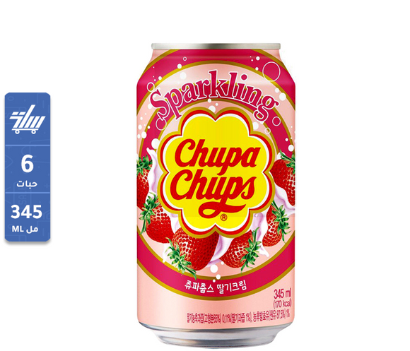 Chupa Chups Sparkling Strawberry Cream Flavour Soda 345ml kuwait