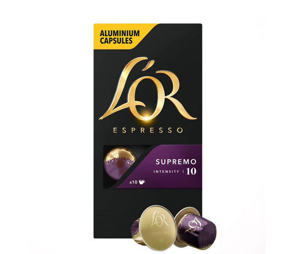 Lor Espresso Coffee Supremo Intensity 10 -  Aluminium Coffee Capsules Pack of 10 Capsules
