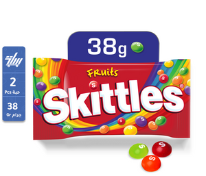 عدد 2 حبة حلوي سكيتلز   Skittles Original Candy Coated Chewy Lens Fruit Pouch 38g