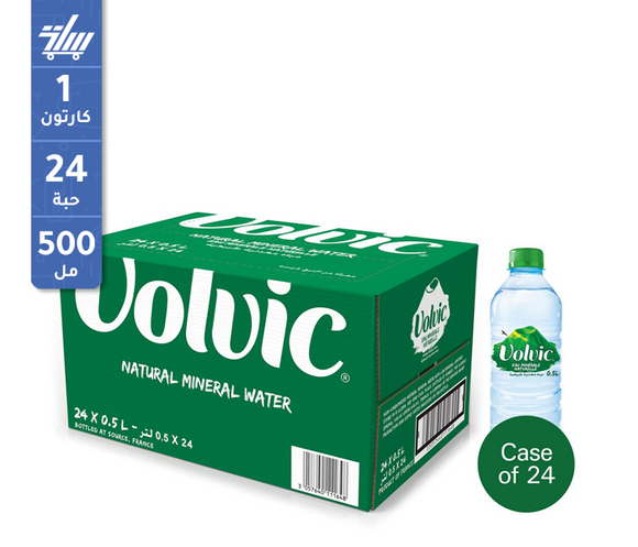 Volvic Natural Mineral Water 24 x 500ml kuwait