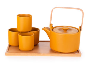 Yellow Bamboo Handle Tea Set-26oz