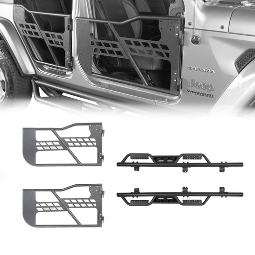 Hooke Road 4-Door Side Steps & Tubular Half Doors Combo(20-21 Jeep Gladiator JT)