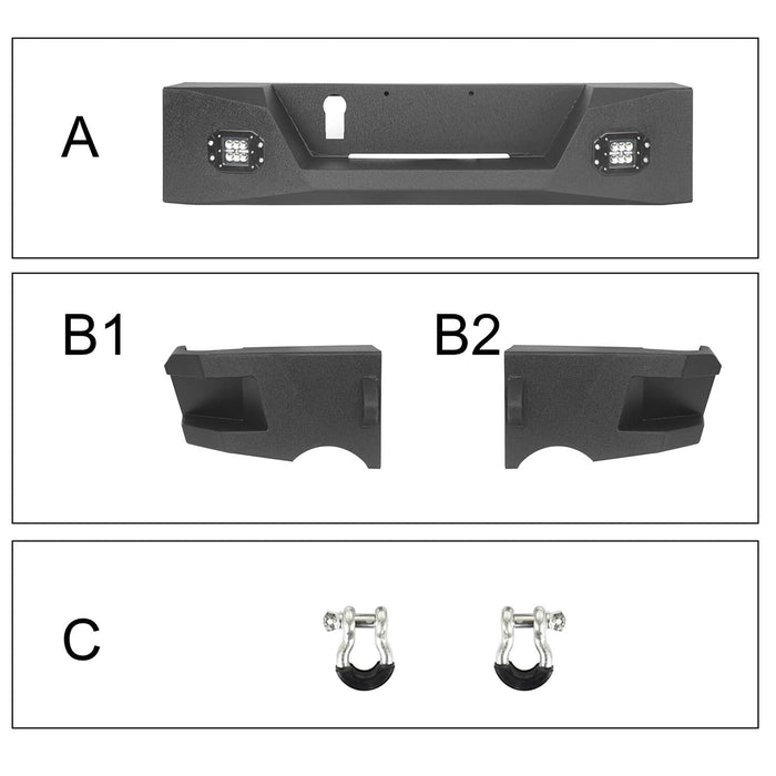 "Hooke Road Full Width Front Bumper / Rear Bumper / MAX 13.8"" High Bed Rack(13-18 Dodge Ram 1500,Excluding Rebel)"
