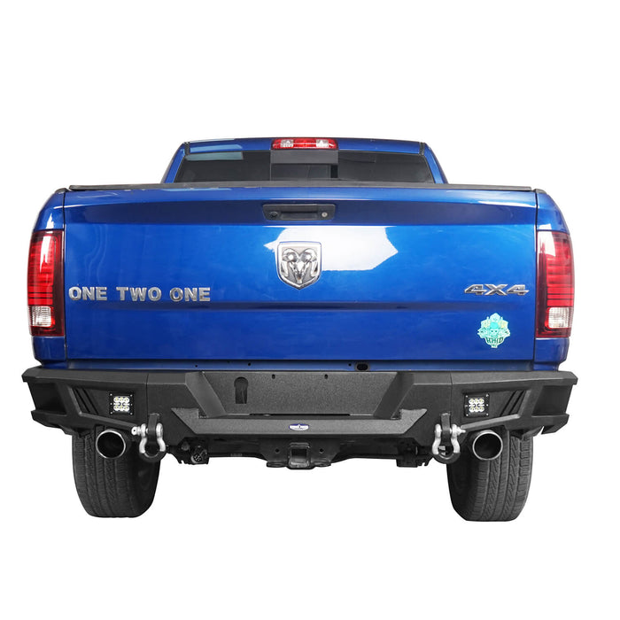 Hooke Road Durable Rear Bumper w/LED Lights(09-18 Dodge Ram 1500)