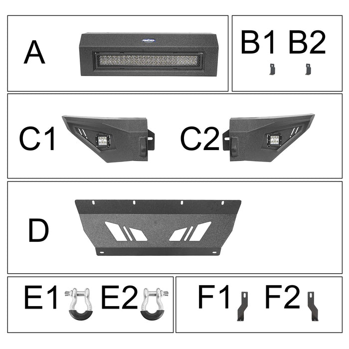 Hooke Road® Full-Width Front Bumper & Rear Bumper(09-14 Ford F-150, Excluding Raptor)
