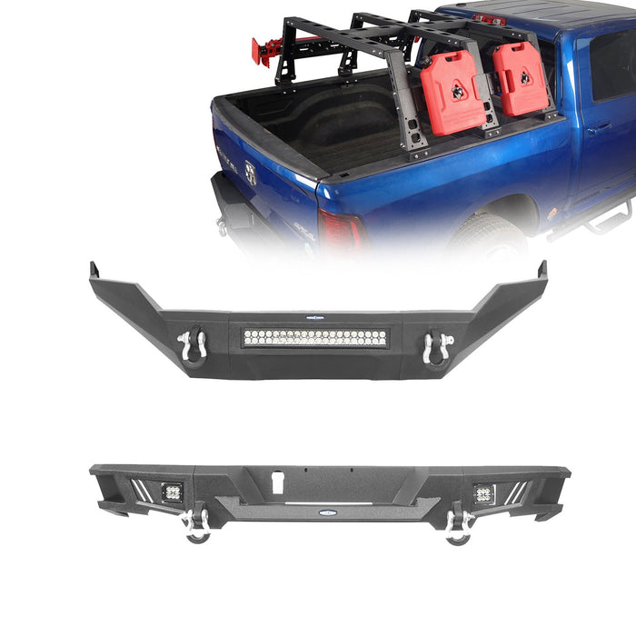 "Hooke Road Front Bumper / Rear Bumper / MAX 13.8"" High Bed Rack(13-18 Dodge Ram 1500,Excluding Rebel)"