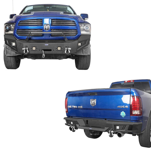 Hooke Road Full WidthFront Bumper & Rear Bumper(13-18 Dodge Ram,Excluding Rebel)
