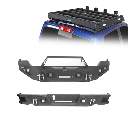 Hooke Road Full Width Front Bumper & Rear Bumper & Roof Rack(09-18 Dodge Ram)