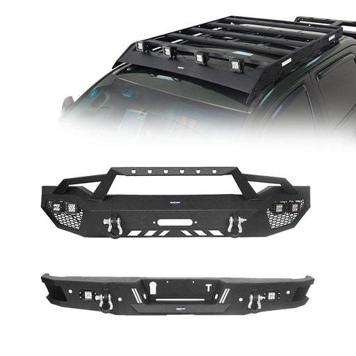 Front Bumper w/Hoop, Rear Bumper, Roof Rack w/Lights(07-13 Toyota Tundra)