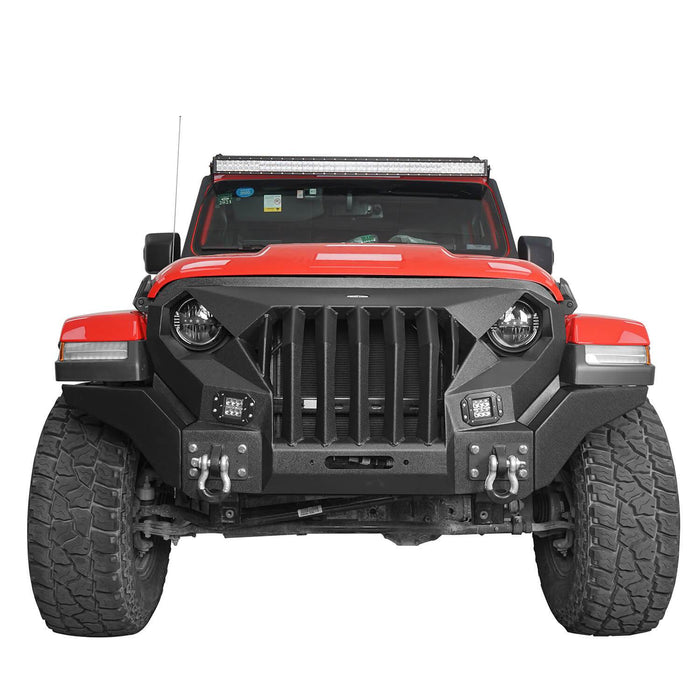 Hooke Road® Front Bumper with Mad Max Grill(20-21 Jeep Gladiator JT & 18-21 Jeep Wrangler JL)