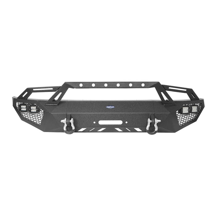 Hooke Road® Full-Width Front Bumper w/Grill Guard & Rear Bumper Back Bumper(09-14 Ford F-150, Excluding Raptor)