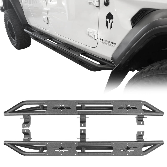Hooke Road® Star Side Step Tubular Running Bards for 2020 Jeep Gladiator Jeep JT Parts BXG902 2