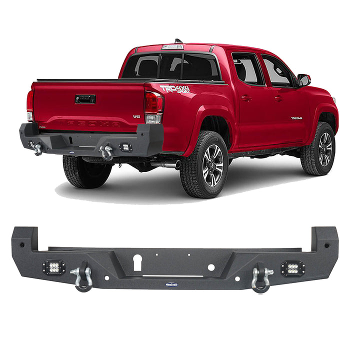 Hooke Road® Rear Bumper w/18W LED Floodlights(16-20 Toyota Tacoma)