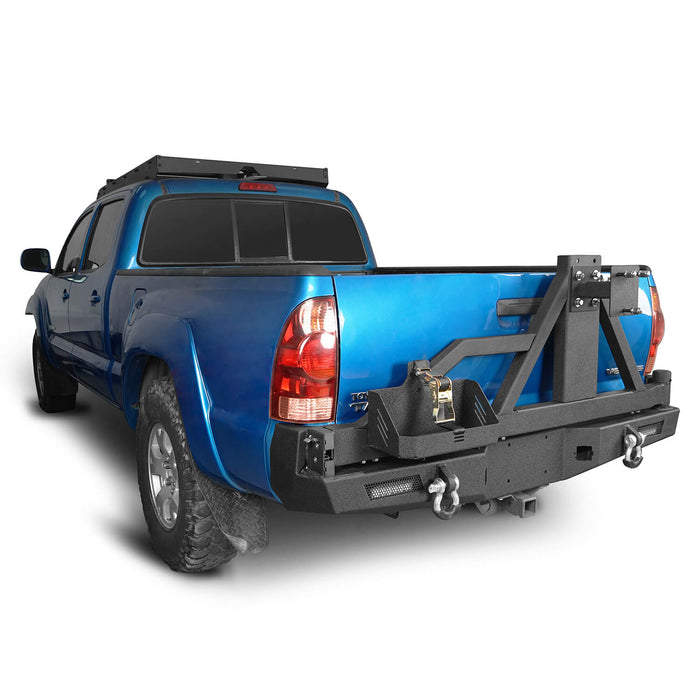 Hooke Road® Rear Bumper w/Swing Out Tire Carrier, 5.3-Gallon Jerry Can Holder(05-15 Toyota Tacoma)
