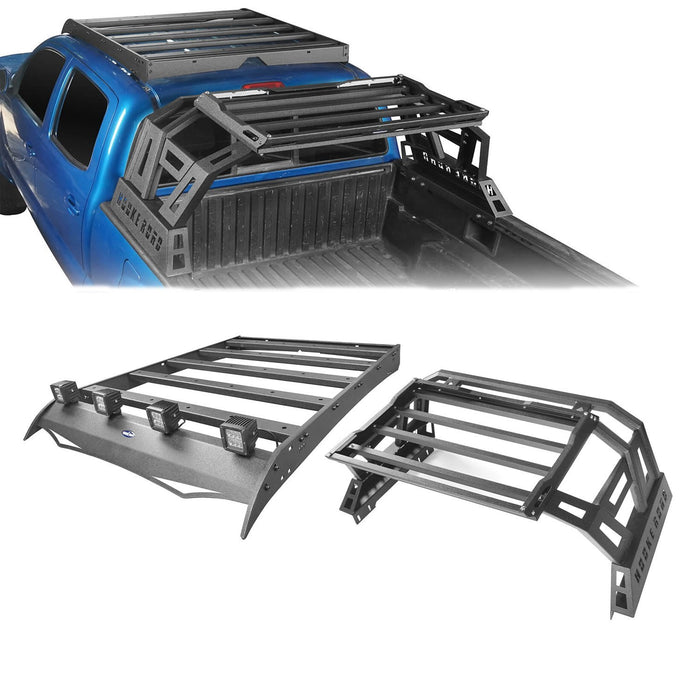 Hooke Road Top Roof Rack Luggage Cargo Carrier & Bed Rack(05-20 Toyota Tacoma)