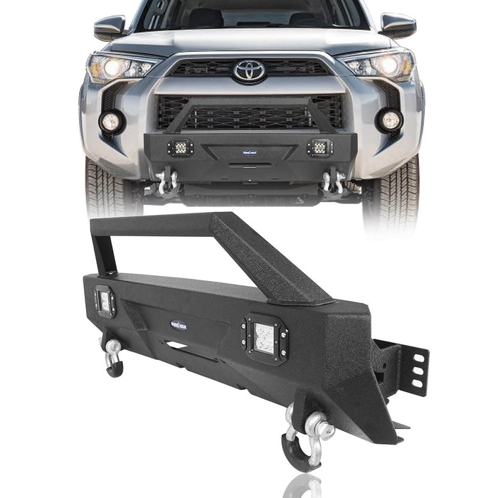 Hooke Road® Toyota Stubby Front Bumper Bar w/Led Lights for 2010-2020 Toyota 4Runner  BXG9014 2