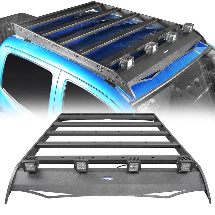 Hooke Road® Roof Rack w/LED Lights Support Shark Fin Antenna(05-21 Toyota Tacoma 4 Doors Double Cab Gen 2/3)