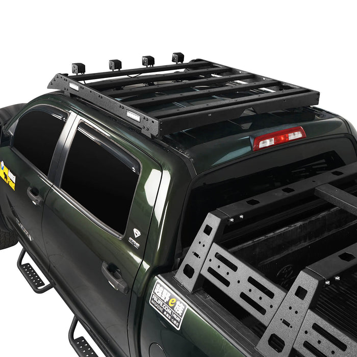 Hooke Road Tundra Roof Rack With Lights for 2007-2013 Toyota Tundra Crewmax Tundra Luggage Rack u-Box Offroad BXG5202 5
