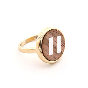 Round Wood Hit Pause Ring