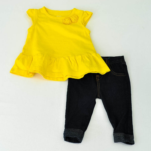 Carter's Shirt with Children's Place jeggings ~ Like-New ~