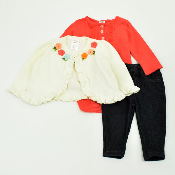 Carter's Cardigan with Gymboree Bodysuit and Leggings ~ Like-New ~