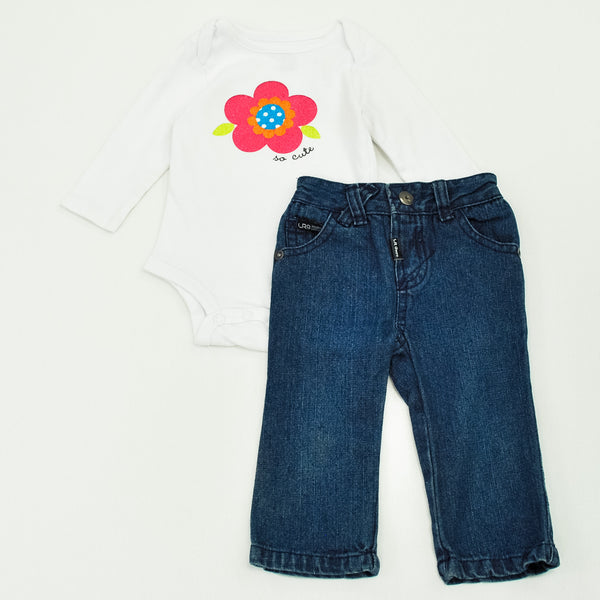Baby Starters Bodysuit with LRG Jeans ~ Gently-Used ~