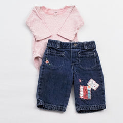 Carter's Long Sleeve Bodysuit with Genuine Baby by Oshkosh Jeans ~ Like New, Like New ~ ,