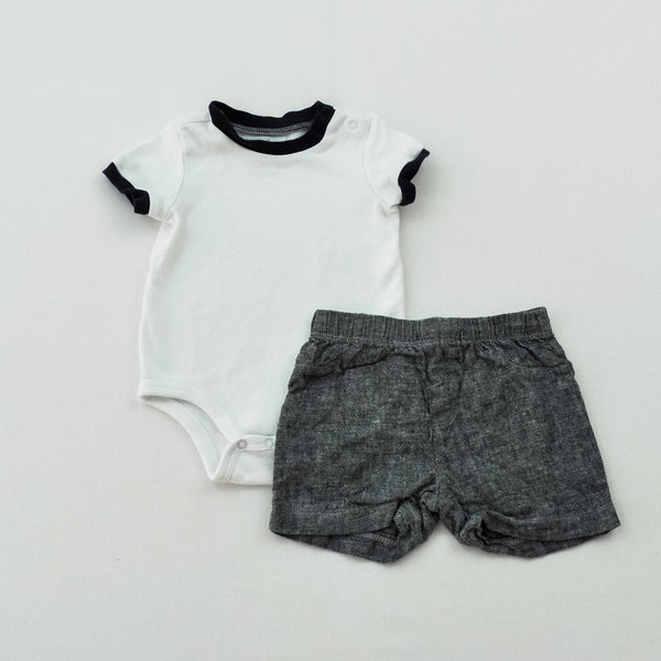 Ralph Lauren Onesie with Babies R Us Shorts ~ Gently-Used