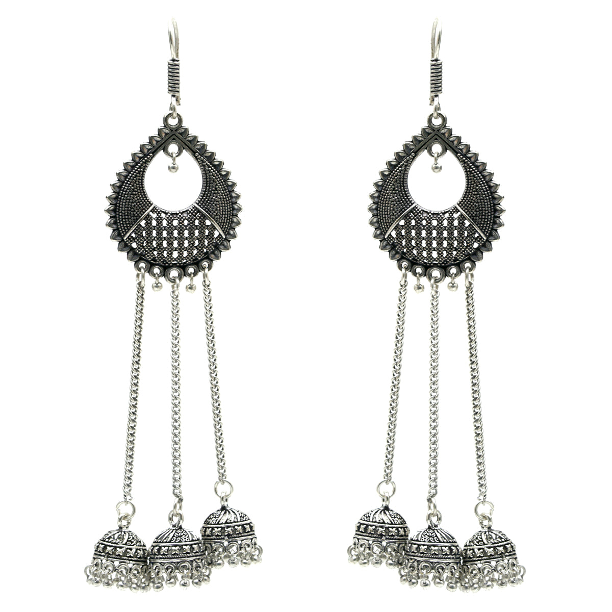 Oxidized Silver Long Jhumki Earrings - Kiyara