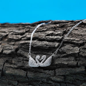 Swarovski Iconic Swan Double Silver Necklace - Kiyara